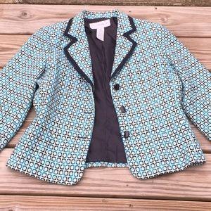 Sag Harbor Blue Geometric Pattern Blazer Jacket